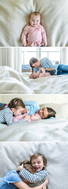 Mama und Baby beim Babyshooting zu Hause mit der ganzen Familie auf dem Bett ©️ lenimoretti.com