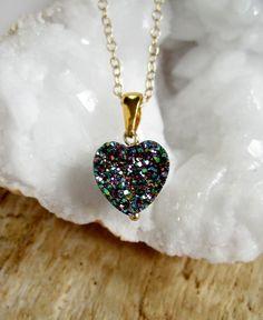 Druzy Necklace Peacock Drusy Quartz Heart 14K by julianneblumlo, $64.00