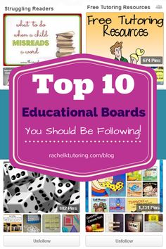 Top 10 Educational Boards You should Be Following!  via Rachel K Tutoring Blog