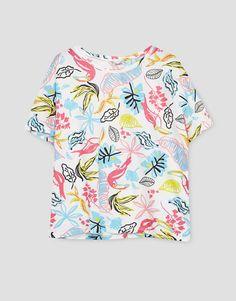 Tropical print T-shirt - T-shirts - Clothing - Woman - PULL&BEAR Ukraine