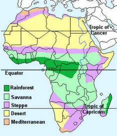 Information relating to the geography, countries, population and climate of Africa Geography Map, Geography Lessons, World Geography, Africa Map, West Africa, South Africa, Climate Of Africa, Teaching 6th Grade, Tropic Of Capricorn