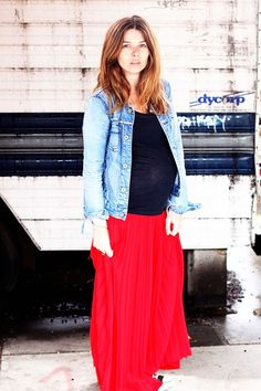 love the denim jacket with red maxi skirt for a casual pregnancy look!