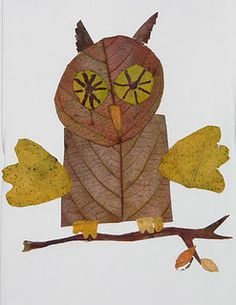 owl- Use colorful fall leaves as craft paper to make an autumn picture