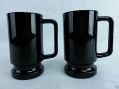 "Two BLACK AMETHYST GLASS HEAVY MUGS STEIN Vintage 5 1/2"" tall 3"" diameter Beautiful Kitchen Designs, Beautiful Kitchens, Black Kitchens, Kitchen Black, Black Amethyst, Antique Glassware, Black Glass, Drip Coffee Maker, Milk Glass"