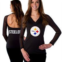 Pittsburgh Steelers Ladies Fashion Long Sleeve V-Neck Halter Top!