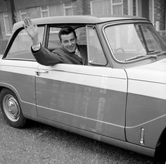 Crystal Palace striker Johnny Byrne waves to his wife as he sets off for training in his Triumph Herald in having been selected to play for England for the first time. England National Football Team, National Football Teams, Crystal Palace, Retro Cars, First Time, The Selection, Classic Cars, The Outsiders, Waves
