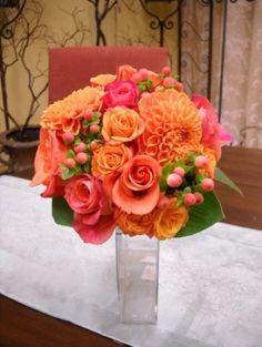 Bridal Bouquet Oranges & Coral. Fleurs de France Floral Addison/Dallas, TX.