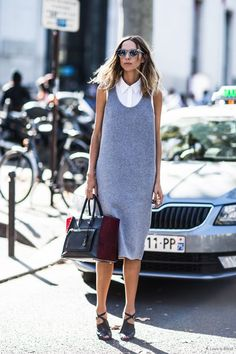 Style solution: layering a tank dress over a sleeveless button-up.