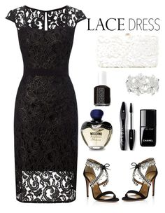 Untitled #484 by veronica7777 on Polyvore featuring polyvore fashion style Adrianna Papell Deux Lux M&Co Lancôme Moschino Chanel Essie Aquazzura clothing