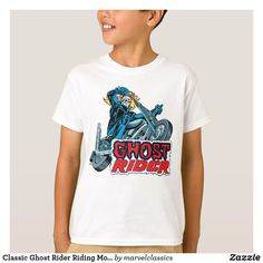Classic Ghost Rider Riding Motorcycle T-Shirt. Personalize these Classic Marvel character designs and make perfect gifts for any fans. #marvel #comic #gifts #birthday #birthdayparty #birthdaycard #personalize #kids #shopping