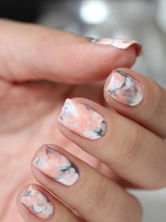 Latest 45 Easy Nail Art Designs for Short Nails 2016 simple nails design Chic Nail Designs, Gel Nail Art Designs, Simple Nail Art Designs, Short Nail Designs, Easy Nail Art, Nails Design, Marble Nail Designs, Nail Art Ideas, Beginner Nail Designs