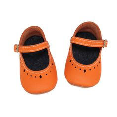 Orange leather soft soled baby shoes. Infant by LilAussieShoeCo