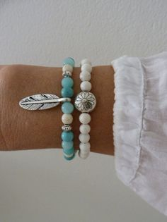 2 bohemian bracelets  feather bracelet  beach bracelet by beachcombershop on Etsy