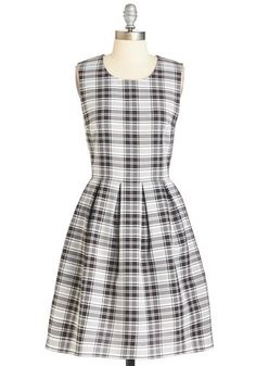 Plaid's Where It's At Dress. Wherever you go in this black-and-white plaid A-line, youre in the hippest place possible. #gold #prom #modcloth