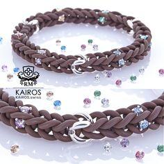 Chocolat Rainbow Swarovski Zirconia bracelet with 3 silver elements. Designer fashion bracelet by KAIROS. Swarovski Bracelet, Fashion Bracelets, Rainbow, Silver, Leather, Fashion Design, Jewelry, Armband, Jewellery Making