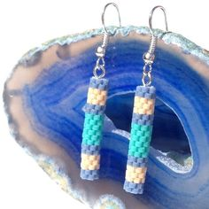 Peyote Tube Earrings In Blue, Cream And Green £8.00