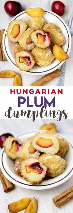 Plum Dumplings or Szilvásgombóc is a traditional Hungarian dish made with potato dough stuffed with cinnamon plum covered in sweet breadcrumbs