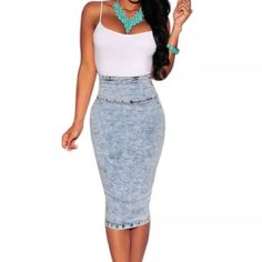 High Rise faded denim skirt A must have!  very flattering, comfortable skirt, high waisted.  Size large fits like an x-large.  Price is firm unless bundled. Skirts Midi