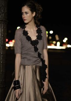 CHAMPAGNE wrap cardigan with crochet motifs / Marie Wallin / Parisian Nights