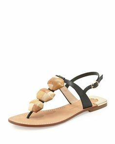 Dory Wooden-Accent Thong Sandal by Diane von Furstenberg at Neiman Marcus.