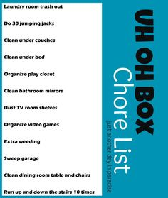Chore list to add to uh oh box