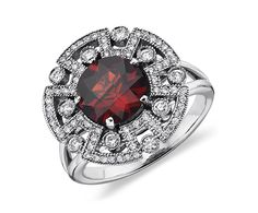 Garnet and Diamond Ring in 14k White Gold | Blue Nile