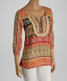 This Beige & Red Abstract Lace Three-Quarter Sleeve Top is perfect! #zulilyfinds