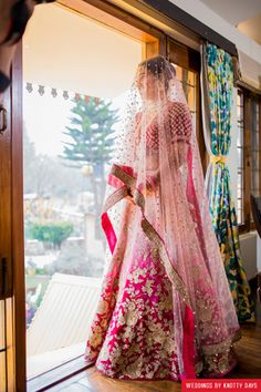 "Weddings by Knotty Days ""Portfolio"" album - Weddig Bridal Lehenga - Bride in Amazing Saree Gown. More information on WeddingNet Pink Bridal Lehenga, Wedding Lehnga, Pink Lehenga, Indian Bridal Lehenga, Desi Wedding, Punjabi Wedding, Wedding Bride, Anarkali Bridal, Wedding Reception"
