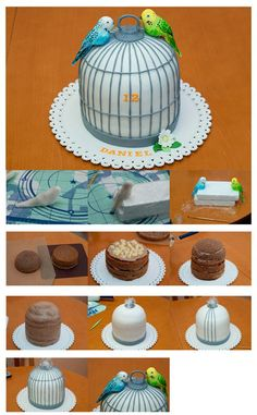 Birdcage tutorial in pictures Fondant Flower Cake, Fondant Cakes, Cupcake Cakes, Fondant Figures, Fondant Bow, Bird Cakes, Dog Cakes, Cake Decorating Techniques, Cake Decorating Tutorials