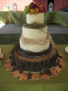 Fall Wedding - I did this cake for an outdoor wedding held the day after Thanksgiving.  The cake flavors are carrot cake with a cream cheese filling and a white chocolate cake with a buttercream filling.  The cake is setting on a tree cut to size.  The fall sugar cookies  were made by the mother of the bride.  I added white chocolate truffles.