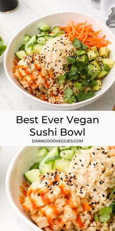 Vegan Sushi Bowl with both California and spicy tuna fillings! Served with brown rice, cucumbers, and avocado. Gluten Free and ready in 10 minutes! dinner thai Best Ever Vegan Sushi Bowl Tasty Vegetarian Recipes, Vegan Dinner Recipes, Whole Food Recipes, Cooking Recipes, Yummy Vegan Food, Sushi Recipes, Vegan Recipes With Rice, Lunch Ideas Vegan, Meatless Dinner Ideas