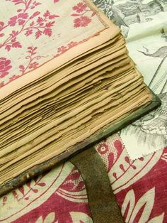 antique french fabrics sample book -smb: I am inspired to take an old book (or make a new one with old paper) and make my own sample book of favorite wrapping papers, wall papers, fabrics and maybe swatches of old clothes from me and my son! Pierre Frey, History Of Textile, French Fabric, Fabric Journals, Chiffon, Linens And Lace, French Decor, Vintage Textiles, Fabric Samples