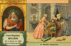 Molière born Jean-Baptiste Poquelin. Scene from Le Malade Imaginaire / The Imaginary Invalid  and Portrait of the French theatre writer, director and actor, one of the masters of comic satire. 15 January 1622 – 17 February  1673  (Photo by Culture Club/Getty Images)