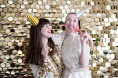 14 Photo Booth Ideas For Your Next Party: tinsel, circle, floral, doily, heart, streamers, fringe and many other affordable and creative ideas.