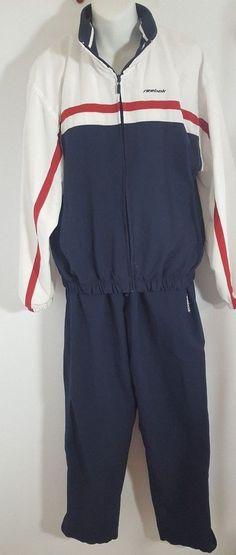 Reebok Tracksuit Ladies Size M Vintage 80s Blue White 2 Pc Pants Jacket 9927 420be3bd0