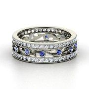 White Gold Ring with Pink Sapphire & Diamond - Sea Spray Band Blue Topaz Diamond, White Sapphire, Black Diamond, Black Onyx, Ring Set, Platinum Ring, White Gold Rings, Silver Ring, Amethyst