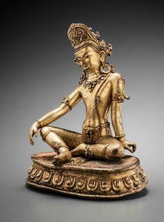 Shakra (Indra). Nepal, 13th Century. Gilt copper alloy. Height: 6 inches (16.5 cm). Tenzing Asian Art (San Francisco, CA).