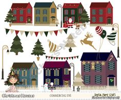 Christmas Houses product from Digital-PaperCraft on TeachersNotebook.com