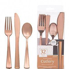 Give your guests a premium dining experience with a Rose Gold Premium Plastic Cutlery Set! This metallic rose gold plastic cutlery set includes plastic forks, knives, and spoons for 8 guests. Gold Birthday Party, Birthday Party Celebration, 15th Birthday, Birthday Parties, Birthday Ideas, Teen Birthday Invitations, Pink Gold Party, November Birthday, Graduation Parties