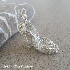 Cinderella's Lost Shoe - Unique STERLING SILVER Pendant - Handmade Jewelry Wire Wrapped - Sterling Silver Wire and Bead - OOAK Magic Fairy on Etsy, $279.55