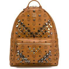 MCM Stark Backpack (3.260 BRL) ❤ liked on Polyvore featuring bags, backpacks, brown, mcm bags, backpacks bags, mcm, mcm backpack and brown bag