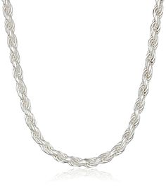 Sterling Silver 060-Guage Diamond-Cut Rope Chain Necklace -- Continue to the product at the image link.