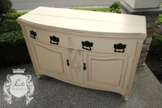 1800's antique buffet painted in #GeneralFinishes Linen with Van Dyke Brown #Glaze and High Performance Top Coat.  #Furniture #Painting #ShabbyChic