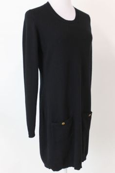 Authentic Chanel Cashmere Long Sleeve Sweater Dress Sz 44 | eBay   Love this classic from Chanel