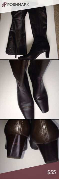 "Gorgeous cole haan boots Supple leather boots with tab/ button embellishment to top. Slightly squared roe. 15.5"" Zipper arch to top of shaft=16"" 2"" stacked wood heel. Floor room condition EUC  (Slight scuff to under part of toe box, not easily visible, price reflects) Cole Haan Shoes Heeled Boots"