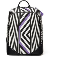 MCMxTobias Rehberger 'Medium' Geometric Coated Canvas Backpack ($1,450) ❤ liked on Polyvore featuring bags, backpacks, lavender, laptop rucksack, backpack laptop bag, mcm bags, chevron backpack and chevron laptop bag