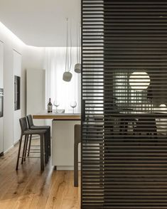 Sliding Door Design, Sliding Wall, Sliding Doors, Modern Home Offices, Space Dividers, Apartment Interior, Stripes Design, My House, House Design