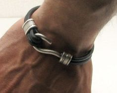 FREE SHIPPING Men's leather bracelet. Black leather multi strand bracelet with  silver plated hook clasp and spacer