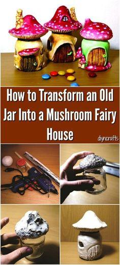 How to Transform an Old Jar Into a Mushroom Fairy House #fairygardening