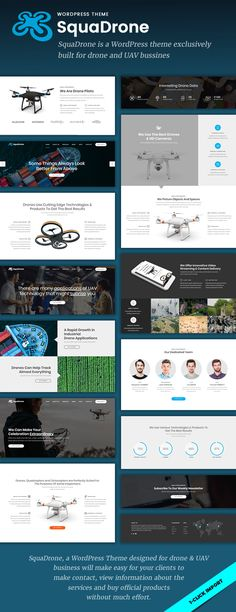 SquaDrone – Drone & UAV Business WordPress Theme  SquaDrone is a WordPress theme exclusively built for all kinds of drone & UAV business services. It is fully responsive, retina ready and easy to c...